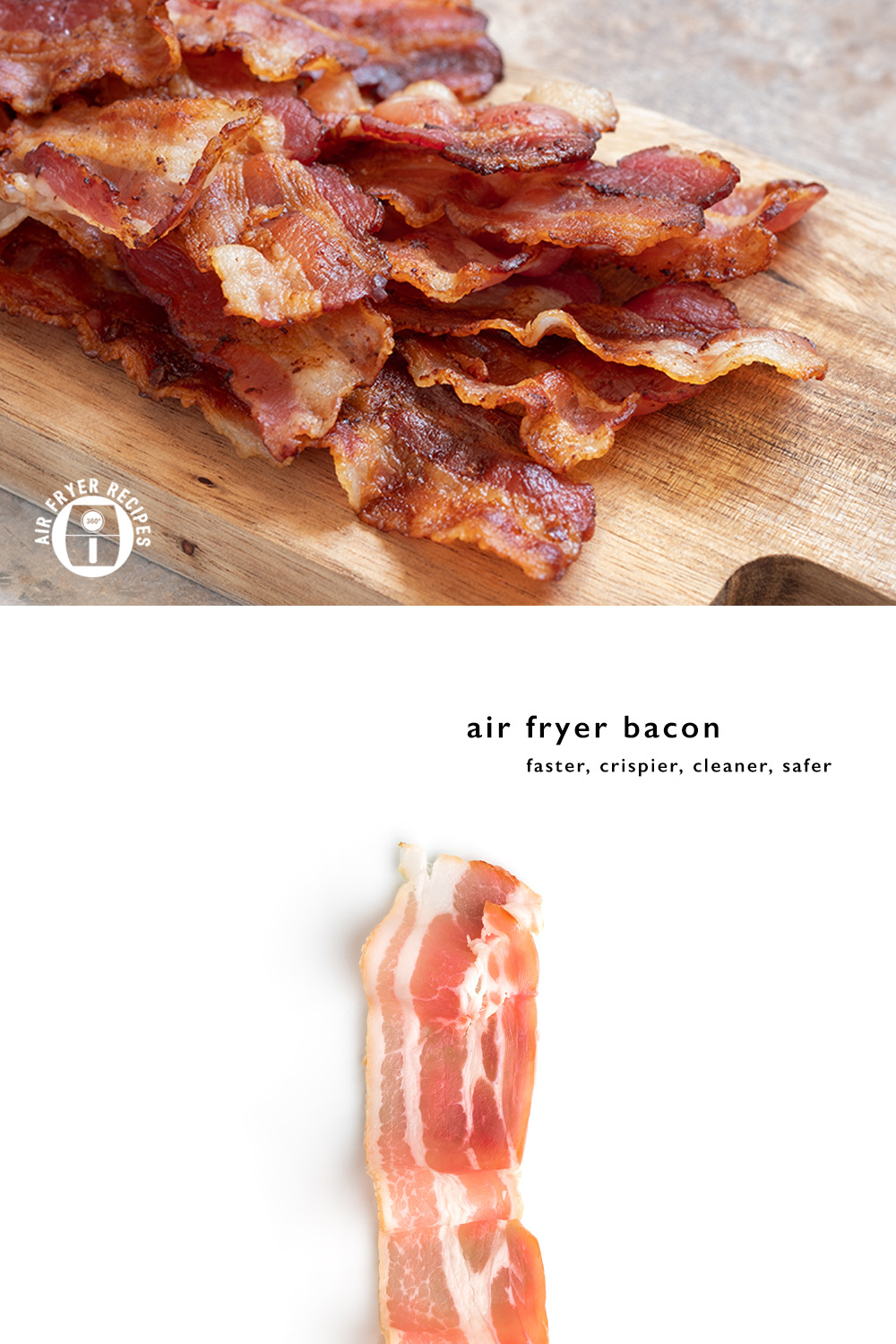 Crispy Air Fried Bacon Cooking bacon in a pan can get messy and sometimes painful when hot oil splashes on your hands or arms. An air fryer helps to cut down on the mess and keeps it crispier than a microwave. #bacon #howtocookbacon #airfriedbacon #airfryer #airfried #breakfastbacon