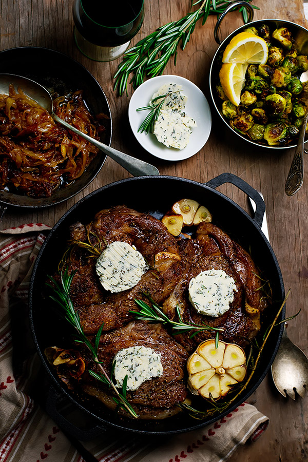 Ribeye with herb butter