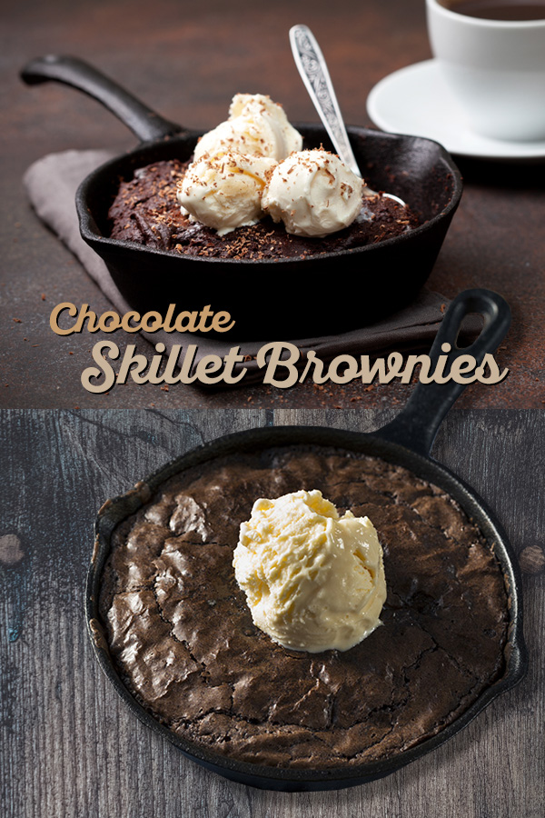 Chocolate Skillet Brownies  This easy cast iron skillet brownies recipe for four is for those who love chocolate and a great cup of hot coffee while taking a break from the hectic pace of life and kides. Topping it off with sweet vanilla ice cream makes this one of life\'s great pleasures.   #dessert #cookie #skillet #brownie #skilletbrownies #skilletsnack #chocolatebrownie #chocolatebrownies #brownies #vanillaicecream #easybrownie
