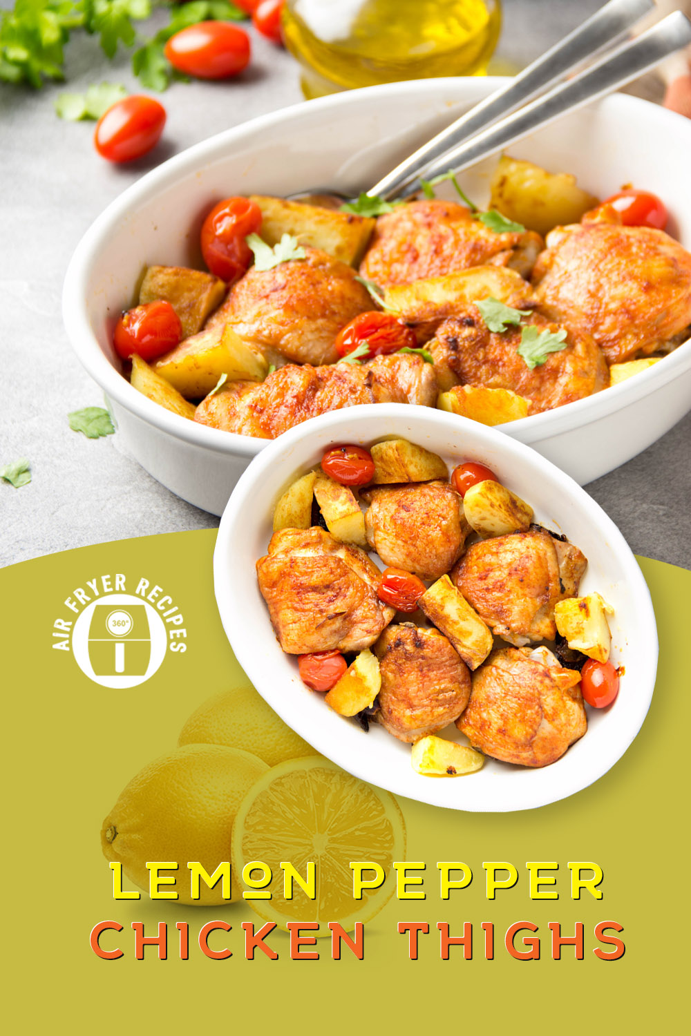 A delicious and easy to prepare recipe using chicken thighs and an air fryer. The lemons helps to bring out the flavors of this amazingly simple dinner recipe. A quick and easy recipe that is ready in 20 minutes. #recipesforairfryer #chickenrecipes #airfryerrecipeschicken #airfryermeals #dinnerideas #mealideas #mealtime #chickendinner