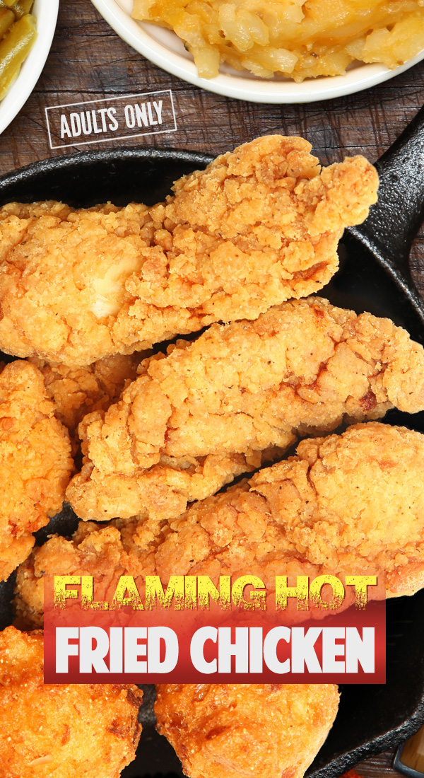 Flaming Hot Skillet Fried Chicken Seasoned with spices to give it a \
