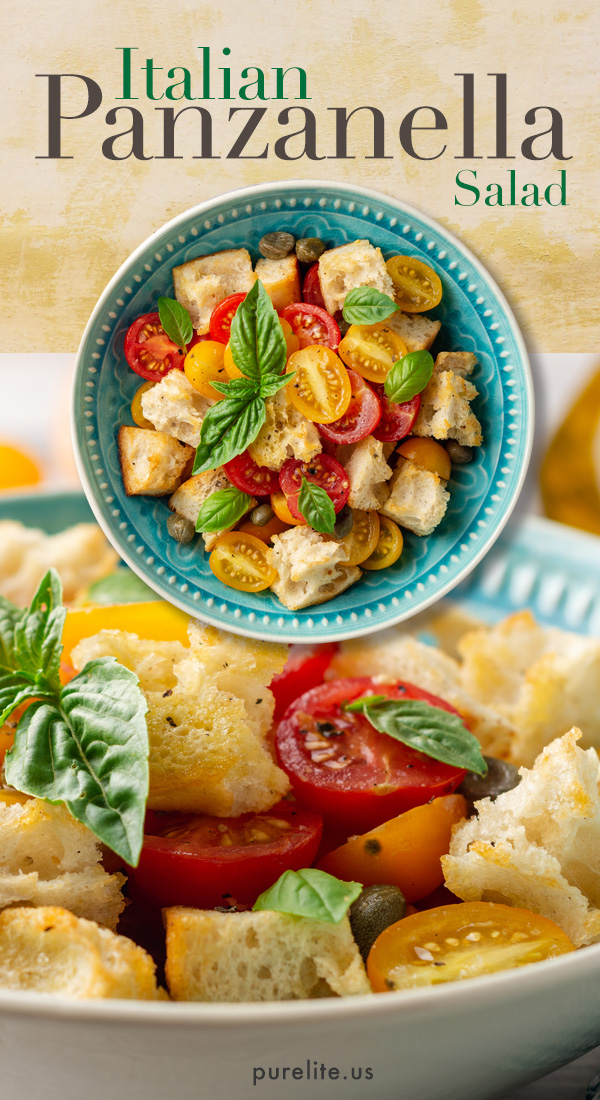 Panzanella, Traditional Italian Salad This healthy salad has been enjoyed for centuries in Italy. Draped in an olive oil, Dijon mustard vinaigrette, this delightful recipe makes an excellent lunch or as a dinner salad. #dinnersalad #dinnerrecipes #saladrecipes #healthyrecipes #veganrecipes #veganshare #veganshares #healthylunch #healthylunchideas #healthylunches #saladideas #weightlossdiet #healthymeals #eatinghealthy #panzanella #panzanellasalad #italiansalad #vinaigrette #vinaigrettedressing